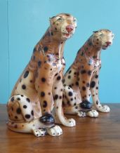 Italian ceramic cheetahs (pair) - SOLD